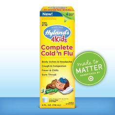 Check out our new and exclusive product at a Target near you! Our new Hyland's 4 Kids Complete Cold 'n Flu, part of the #madetomatter collection at #Target, is specially formulated for kids ages 2-12 to naturally relieve common cold and flu symptoms.