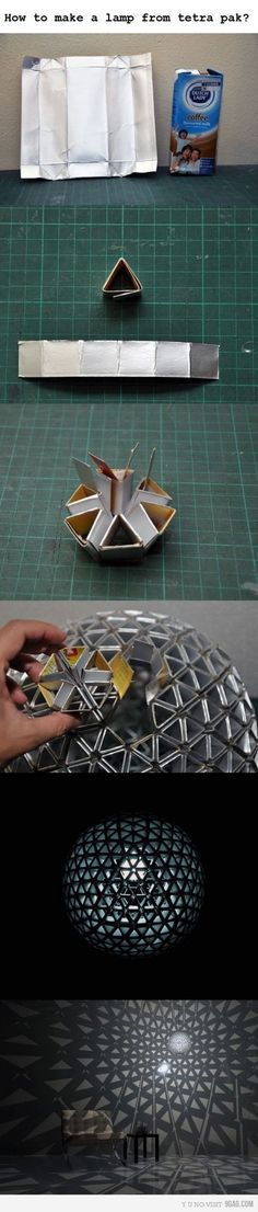 Funny pictures about Creating a lamp from Tetra Pak. Oh, and cool pics about Creating a lamp from Tetra Pak. Also, Creating a lamp from Tetra Pak photos. Genius Ideas, Geometric Lamp, Diy And Crafts, Arts And Crafts, Tetra Pak, Recycling, Make A Lamp, Diy Upcycling, Upcycle