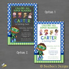 Super Why Birthday Party Invitation - Blue Green Polka Dot Stripe Custom by BeeBeesDezigns