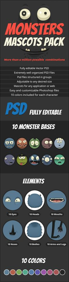 A huge vector monster pack with a million combinations of vector monsters, u can create ur own vector mascot in no time with this design set