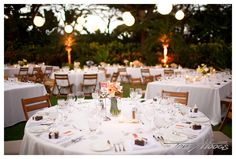 Mix Of Round Tables And Rectangles With Lanterns And Uplighting At Garden  Lawn, Four Seasons