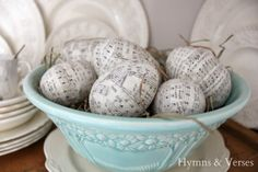 Decorating with Music | Hymns and Verses - musical note eggs (strips of paper from an old hymnal decoupaged and finished off with clear glitter)