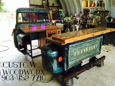 Upcycled Truck Beds Tractor Kitchens & Dr Pepper Cooler Bars - The Sustainable Home Hub Bar Furniture For Sale, Car Part Furniture, Automotive Furniture, Automotive Decor, Furniture Ideas, Automotive Design, Automotive Logo, Automotive Engineering, Engineering Jobs
