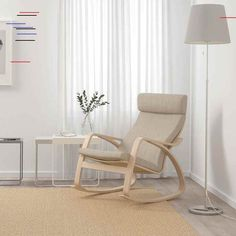 POÄNG Mecedora - chapa roble tinte blanco, Hillared beige - IKEA POÄNG Mecedora - chapa roble tinte blanco, Hillared beige - IKEA Fabric Armchairs, White Stain, Cushion Fabric, Wood Veneer, Light Beige, Rocking Chair, Seat Cushions, Floor Chair, Living Room