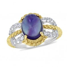 Viola, Oval-cut Amethyst & White Topaz Ring in Sterling Silver Yellow Plated