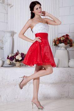Ein-Schulter-Organza Rot Weißer Graduierung Kleid kv2078 - Silhouette: Ballkleid, Gewebe: Organza, Verzierungen: Perlen, Kristall, Pailletten, Länge: Kurz - Price: 158.8100 - Link: http://www.kleiderverkaufen.de/ein-schulter-organza-rot-weisser-graduierun