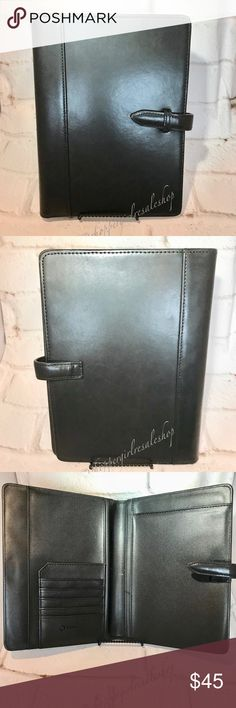 FRANKLIN COVEY Leather Planner Cover 💯Authentic. PRE-LOVED!! Black FRANKLIN COVEY Planner Cover. Genuine leather. Great condition. Slight edge wear with cracks. See pics 6 and 7  for condition.  ~Thanks for shopping by 😉 and taking a look. ❗️**Please N🚫 Trades, N🚫 Holds, N🚫 Low Ball offers.** ❗️Thank you!** ~**Disclaimer: This item is 100% AUTHENTIC NO fake, NO replica!**~ {Smoke-Free Home!} Franklin Covey Other
