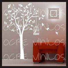 vinilos decorativos línea árboles ramas y aves. 50 diseños!