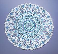 Blue beaded doily like a Turkish plate Seed Bead Patterns, Doily Patterns, Beading Patterns, Beading Ideas, Bead Embroidery Jewelry, Beaded Embroidery, Drapery Tie Backs, Milk Jug, Brick Stitch