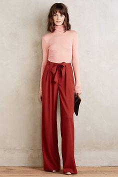 Valera Trousers + medium pink layering turtleneck - anthropologie.com