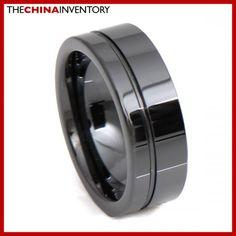 8MM SIZE 13 HI TECH BLACK CERAMIC WEDDING RING R3403