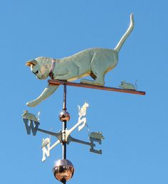 General Information Below are examples of our four main styles of Weathervanes. Hybrid Style Weathervanes: We also make weathervanes that are a combination of two styles. For example, our Cat & Mice Weathervane can be made with either silhouette style Crazy Cat Lady, Crazy Cats, Lightning Rod, What Cat, Weather Vanes, Art Sculpture, Cat Decor, Yard Art, Cool Cats