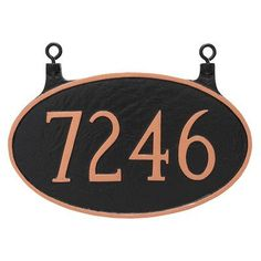 Montague Metal Products Double Sided Hanging Classic Oval Standard Address Plaque Finish: Navy/Silver