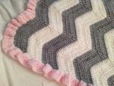 Beautiful Crochet Baby Blanket - White and Gray Chevron with Pink Ruffle Trim on Etsy, $50.00