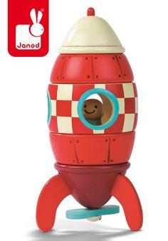 Rakieta drewniana magnetyczna, Janod - Zabawki drewniane - Zabawki - Sklep z akcesoriami dla mam i dzieci