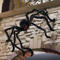 Halloween Spider with Flashing Eyes: http://www.grandinroad.com/halloween-spider-with-flashing-eyes/154831?defattrib===3 A Grandin Road exclusive, this giant Halloween Spider with Flashing Eyes is an arachnophobe's worst nightmare. At a full 6', this creepy Halloween decoration will likely outsize some of your trick-or-treaters! (October 2012)