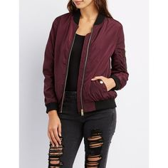 Charlotte Russe Zip-Up Bomber Jacket ($30) ❤ liked on Polyvore featuring outerwear, jackets, burgundy, bomber jacket, lightweight bomber jacket, charlotte russe, utility jacket and blouson jacket