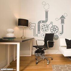 Gears and Gadgets Wall Decal   Vinyl Wall Art by WallumsWallDecals, would be pretty fun for an office.