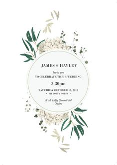 These wedding invitations feature beautiful greenery and foliage, with eucalyptus leaves, hydrangea florals and clover greenery. The green, white and grey colours make for a romantic, elegant and timeless look.