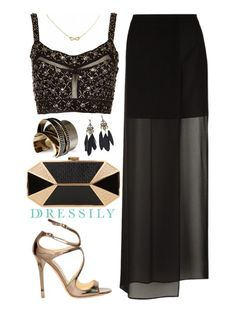 An embellished bralet, a translucent maxi-skirt and black n' gold accessories for that glamorous night out. dressi.ly #eveningwear #glitznglam
