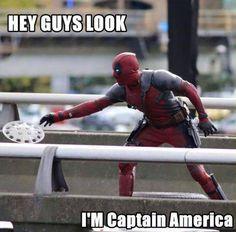 Oh, Deadpool... #Deadpool #CaptainAmerica  /  #SLCC15 tickets: http://saltlakecomiccon.com/slcc-2015-tickets/?cc=Pinterest
