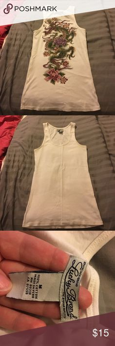 Lucky brand dragon back tank Cream colored Lucky brand tank, with beautiful dragon design on the back. Size medium Lucky Brand Tops Tank Tops