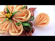 Cómo hacer que los pétalos kanzashi de las cintas 2 5 cm Pétalos kanzashi Master Class - YouTube