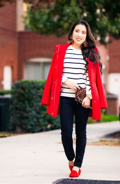 cute & little | petite fashion blog | j.jill red cambridge coat, striped sweater, red smoking slippers, leopard clutch | fall winter holiday outfit