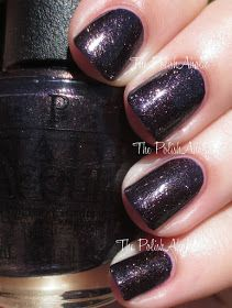 OPI: ☆ First Class Desires ☆ ... a Dark Purple nail polish with strong golden shimmer from the OPI Holiday 2014 Gwen Stefani Collection