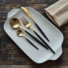 Overview    You'll be the real star with our Night at the Opera flatware! Beautiful golden color contrasted with an elegant black handle is the showstopper every dinner host dreams of.    Details    Product Type: Cutlery / FlatwareMetal Type: 304 (18/10) Stainless SteelDishwasher Safe: YesOne Set Includes:1 Dinner Fork1 Dinner Spoon1 Tea Spoon1 Dinner Knife   Care Instructions    Dishwasher: The flatware is dishwasher safe. To get the best results, ensure that the flatware has properly…
