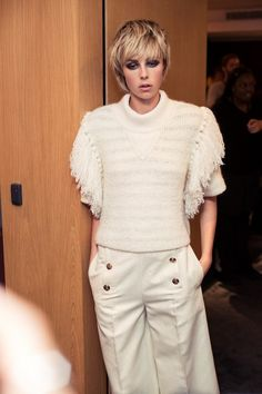 Edie Campbell in white wool tassels at Sonia Rykiel SS15 PFW. More images here: http://www.dazeddigital.com/fashion/article/21999/1/sonia-rykiel-ss15