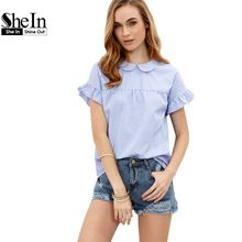 SheIn Ladies Tops Blue Blouses in Women Summer Blue Striped Peter Pan Collar Short Sleeve Blouse Women Casual Blouses(China (Mainland))