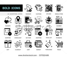 Bold vector icons in a modern style. Linear elements with potting black. Online shopping and e-commerce, price list, mobile store, mobile payments. - stock vector