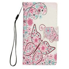 Insten Butterfly Flip Leather Fabric Stand Card Case Lanyard w/Photo Display for Apple iPhone 8 Plus / iPhone 7 Plus - Pink/WhiteCompatible WithApple iPhone 7 Plus / 8 PlusPackage IncludesStand Leather Wallet Case x 1 Butterfly Books, White Butterfly, Butterfly Flowers, Butterfly Design, Butterflies, Leather Fabric, Leather Case, Leather Wallet, Fabric Cards