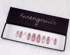 Glitter Mauve Nails   Press On Nails   Glue On Nails   False Nails   Any Shape   Handpainted