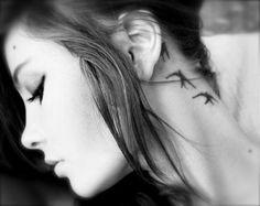 bird silhouettes - neck tattoo