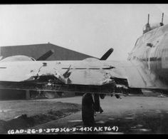 Mar 6 1944 The Damaged Wing Of A B 17 Flying Fortress