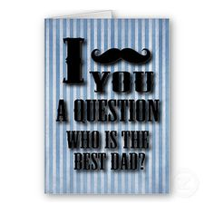 Mustache Fathers Day Card Fathers day greeting by DeepBlueCreek, $5.50