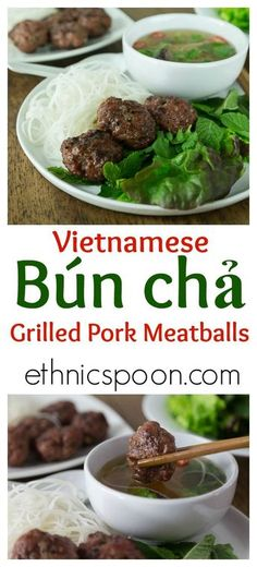 Bun cha is a traditional Vietnamese dish of grilled pork meatballs served with a delicious golden broth, a variety of fresh herbs, greens, and rice noodles. | ethnicspoon.com