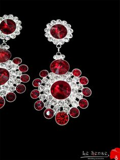 wedding earring ,earring with clear white and red crystals , earring for a wedding ,chandelier earrings wedding inlaid with colored crystals