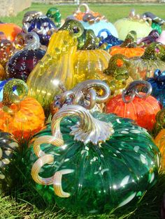 Wow! Look at all those glass pumpkins!
