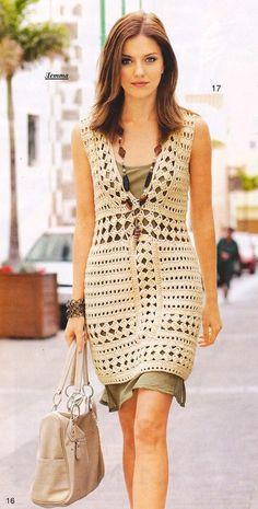 Crochetemoda: Crochet - Vestido Bege