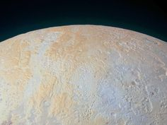 Pluto's North Pole Is Streaked With Canyons - Enormous pits and frozen valleys straddle Pluto's northern hemisphere. Known as the Lowell Regio (named after Percival Lowell, whose work led to Pluto's discovery), Pluto's north pole is streaked with enormous canyons that can be seen running vertically across the left side of the photo. The largest, which is highlighted in yellow in the annotated image below, is about 45 miles wide at its largest point and is surrounded by smaller canyons