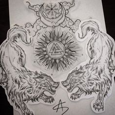 I seriously appreciate the colours, lines, and linework. This is definitely a fantastic concept if you want a Dope Tattoos, Black Tattoos, Body Art Tattoos, Sleeve Tattoos, Tattoos For Guys, Fenrir Tattoo, Norse Tattoo, Viking Tattoos, Slavic Tattoo