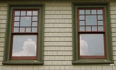Windows that partner a multi-pane top sash with a single-pane lower sash are typical of homes built from about 1880 to 1915