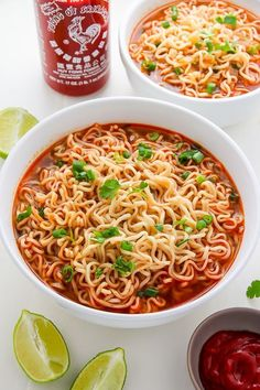 Spicy Sriracha Ramen Noodle Soup (Video) Easy Homemade Ramen Noodle Soup ready in just 20 minutes!Easy Homemade Ramen Noodle Soup ready in just 20 minutes! Spicy Recipes, Asian Recipes, Soup Recipes, Vegetarian Recipes, Cooking Recipes, Healthy Recipes, Keto Recipes, Vegetarian Ramen, Homemade Ramen Noodle Recipes