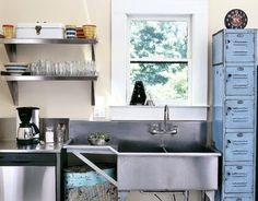 Using things in a different way: lockers as kitchen cupboards!  Industrial kitchen