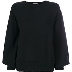 Helmut Lang Balloon Sleeves Sweater ($615) ❤ liked on Polyvore featuring tops, sweaters, black, long sleeve pullover sweater, helmut lang pullover, round neck sweater, balloon sleeve sweater and balloon sleeve top