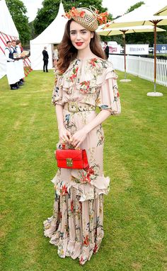 Lily Collins in a floral Johanna Ortiz floral dress Source by people Dresses Melbourne Cup Fashion, Sandra Bullock, Sandro, Lily Collins Style, Lily Collins Dress, Dresses For The Races, Mode Kawaii, Liliana, Curvy Petite Fashion