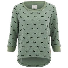 ONLY Women's Sublime Minibow Check Sweatshirt - Granite Green ($17) ❤ liked on Polyvore featuring tops, hoodies, sweatshirts, green, relaxed fit tops, stretchy tops, quilted top, only sweatshirt and patterned sweatshirt